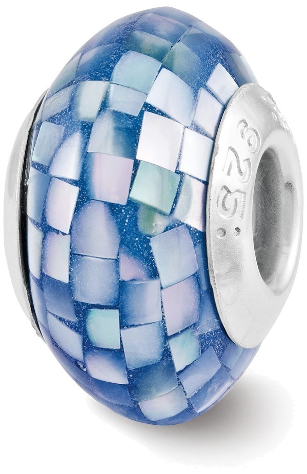 Sterling Silver Reflections Blue Mother of Pearl Mosaic Bead QRS3186