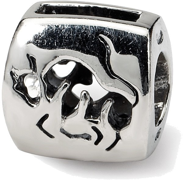 Sterling Silver Reflections Taurus Zodiac Antiqued Bead