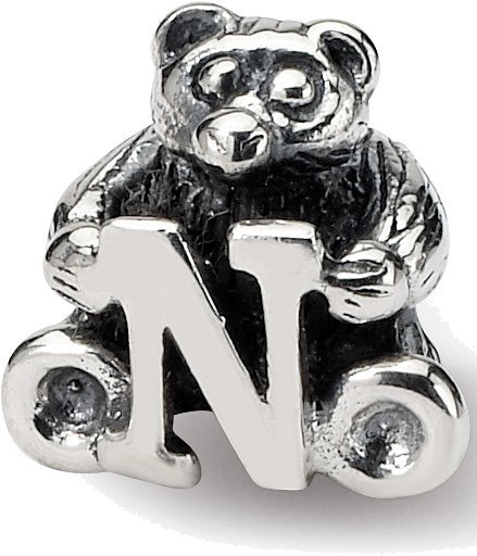 Sterling Silver Reflections Kids Letter N Bead