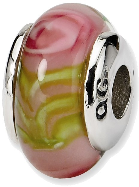 Sterling Silver Reflections Kids Pink Hand-blown Glass Bead QRS811