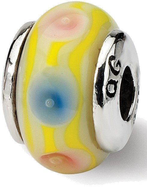 Sterling Silver Reflections Kids Yellow Hand-blown Glass Bead QRS822