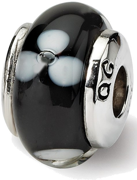 Sterling Silver Reflections Kids Black Hand-blown Glass Bead QRS992 - DISCONTINUED