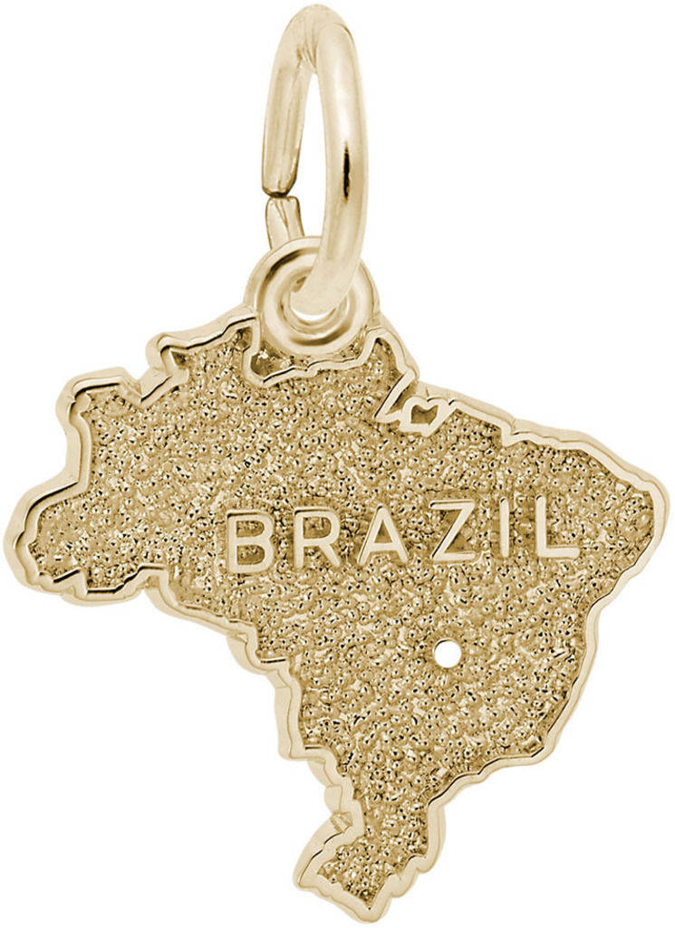 Brazil Map Charm (Choose Metal) by Rembrandt