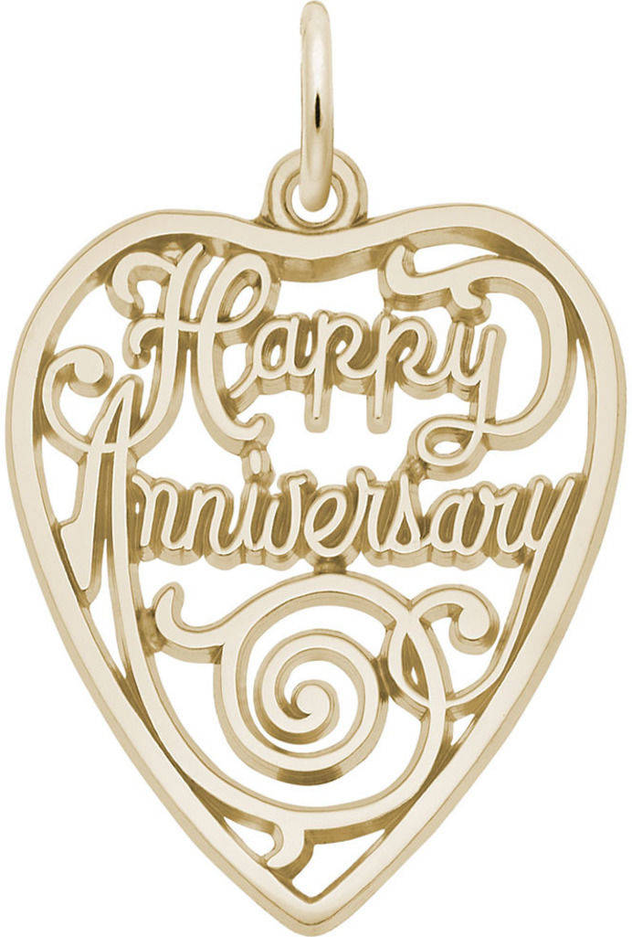 Happy Anniversary Cutout Heart Charm (Choose Metal) by Rembrandt