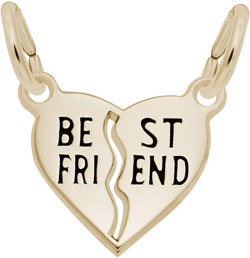 Best Friend Shared Heart Charm (Choose Metal) by Rembrandt