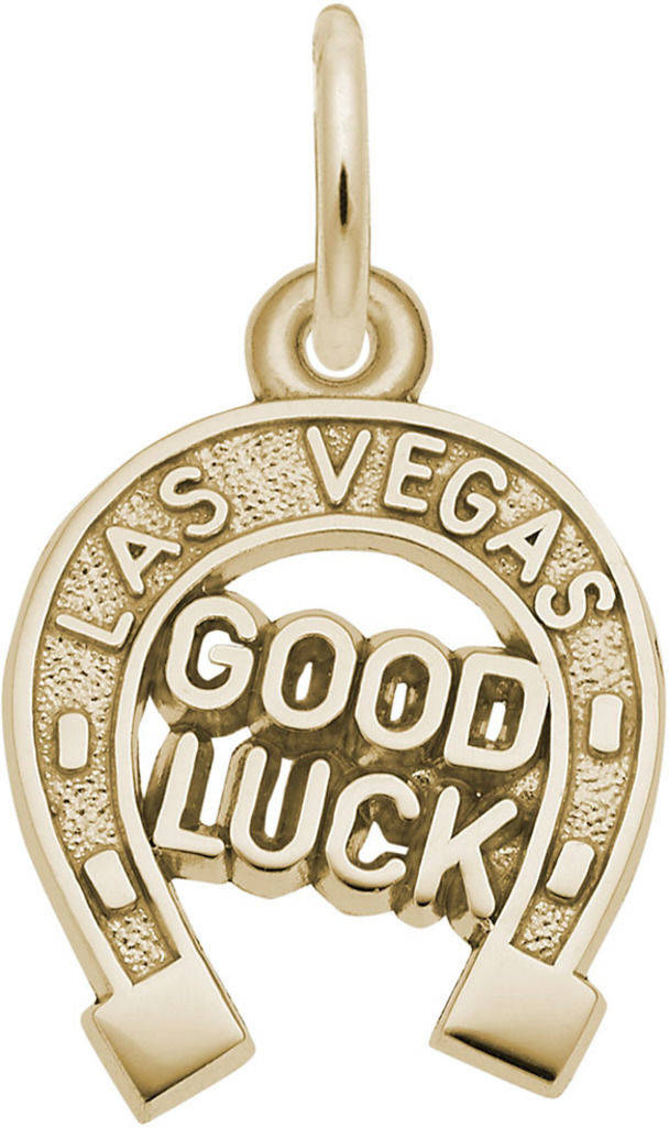 Las Vegas Good Luck Horseshoe Charm (Choose Metal) by Rembrandt