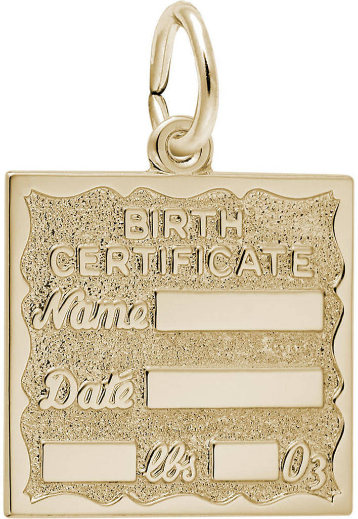 Birth Certificate Charm (Choose Metal) by Rembrandt