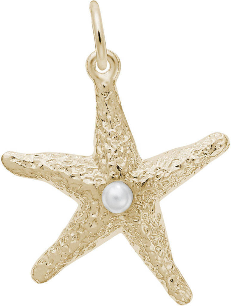 Starfish w/ Simulated Pearl Charm (Choose Metal) by Rembrandt