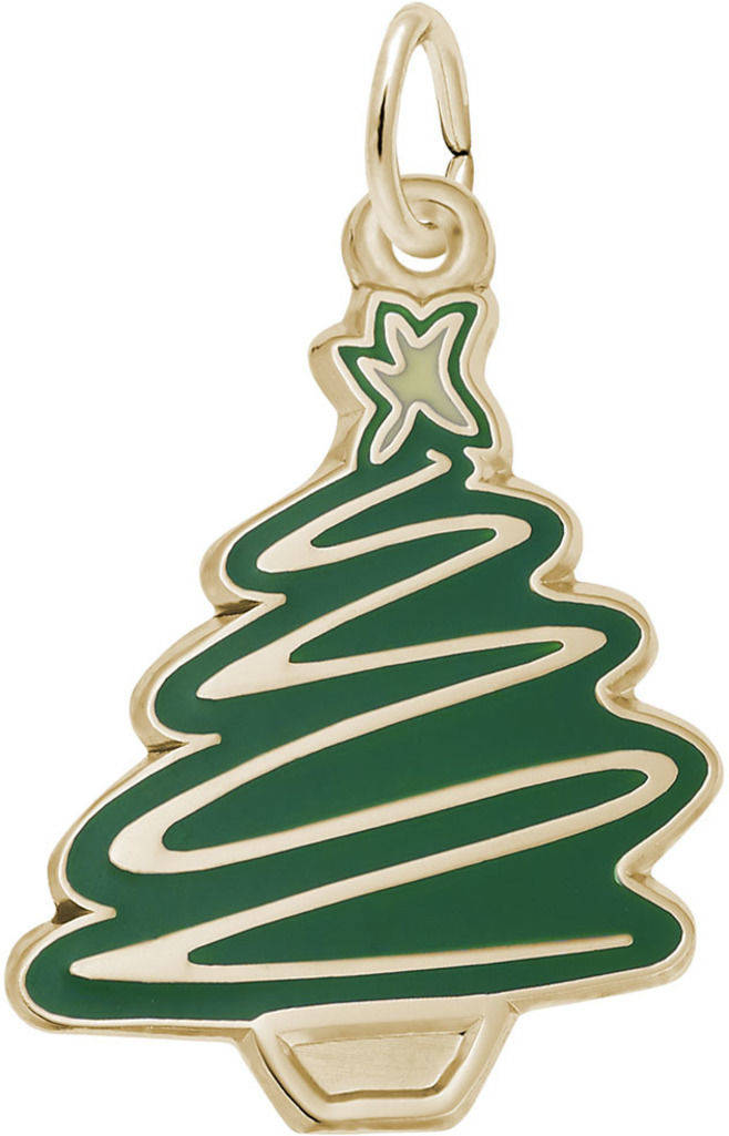 Green Enamel Christmas Tree Charm (Choose Metal) by Rembrandt