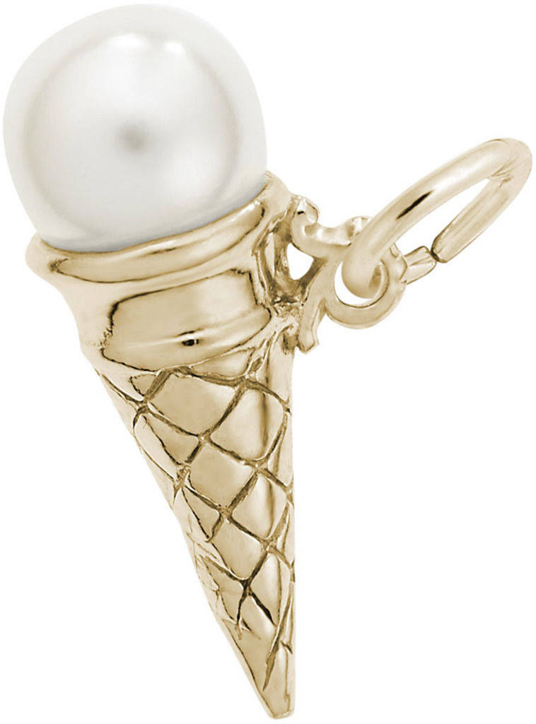 Vanilla Ice Cream Cone w/ Simulated Pearl Charm (Choose Metal) by Rembrandt
