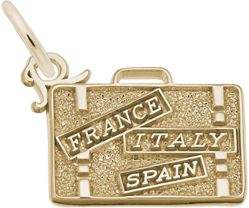 France, Italy, Spain Suitcase Charm (Choose Metal) by Rembrandt