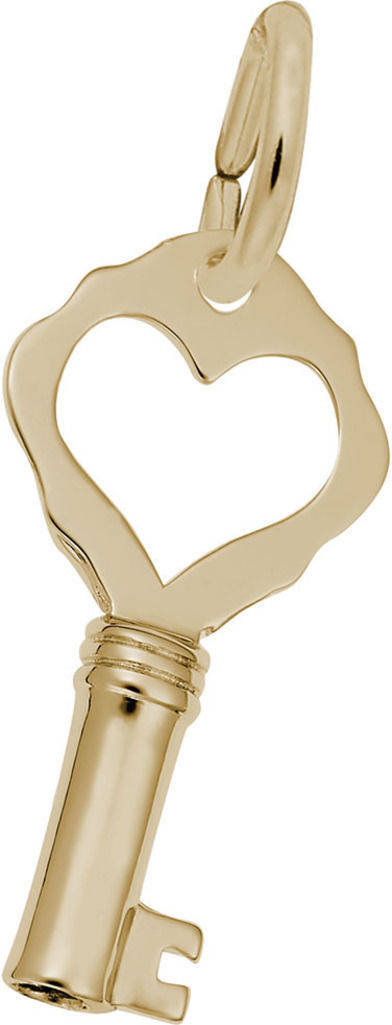 Key w/ Heart Plain Charm (Choose Metal) by Rembrandt
