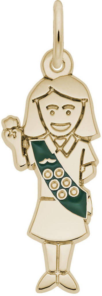 Scout Charm w/ Green Enamel (Choose Metal) by Rembrandt