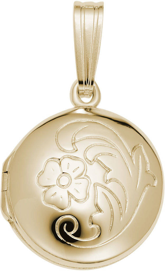 Round Floral Locket Charm (Choose Metal) by Rembrandt