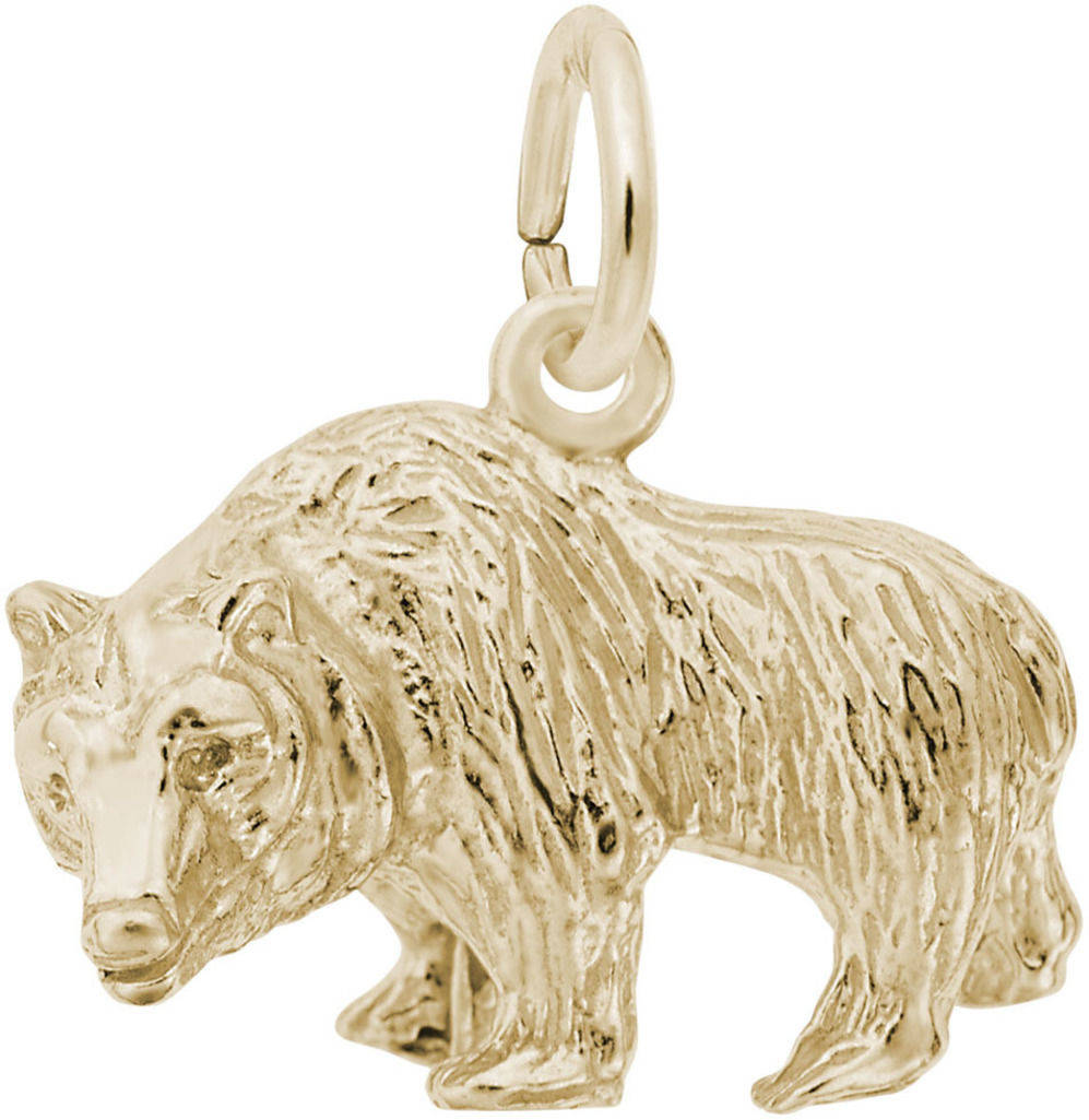 Textured Grizzly Bear Charm (Choose Metal) by Rembrandt