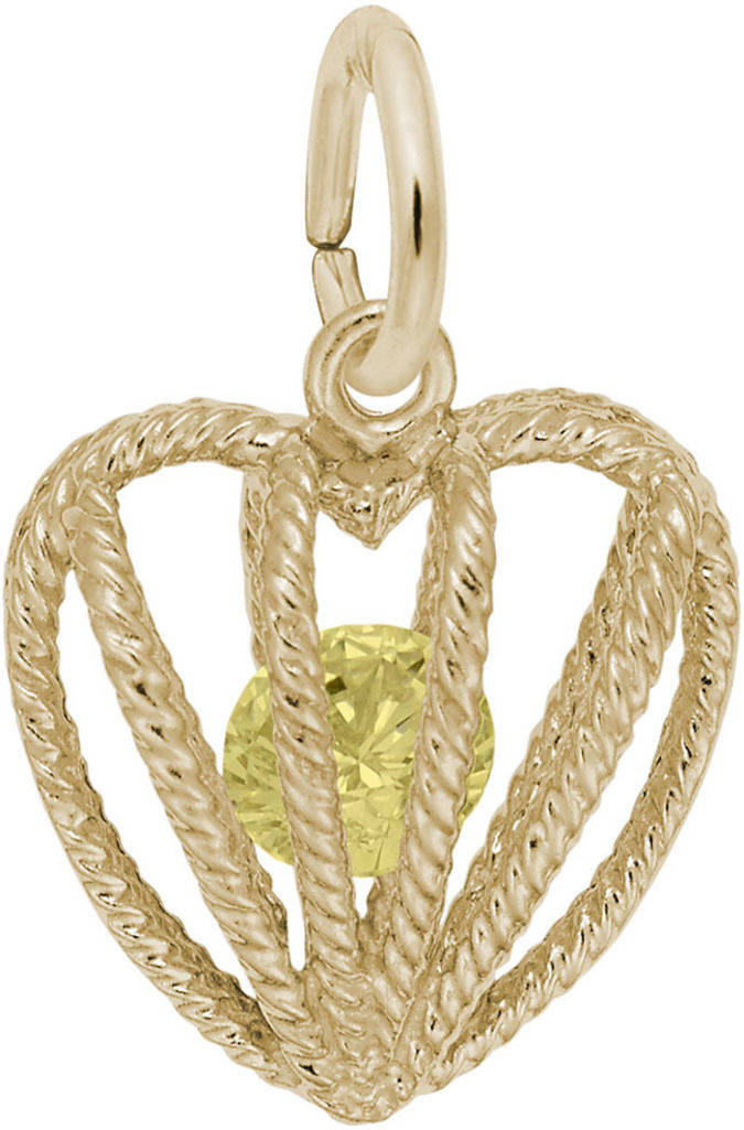 November Heart Cage w/ Synthetic Crystal Charm (Choose Metal) by Rembrandt
