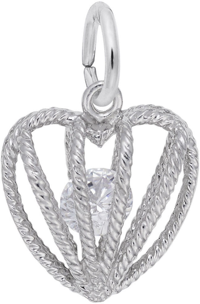 April Heart Cage w/ Synthetic Crystal Charm (Choose Metal) by Rembrandt