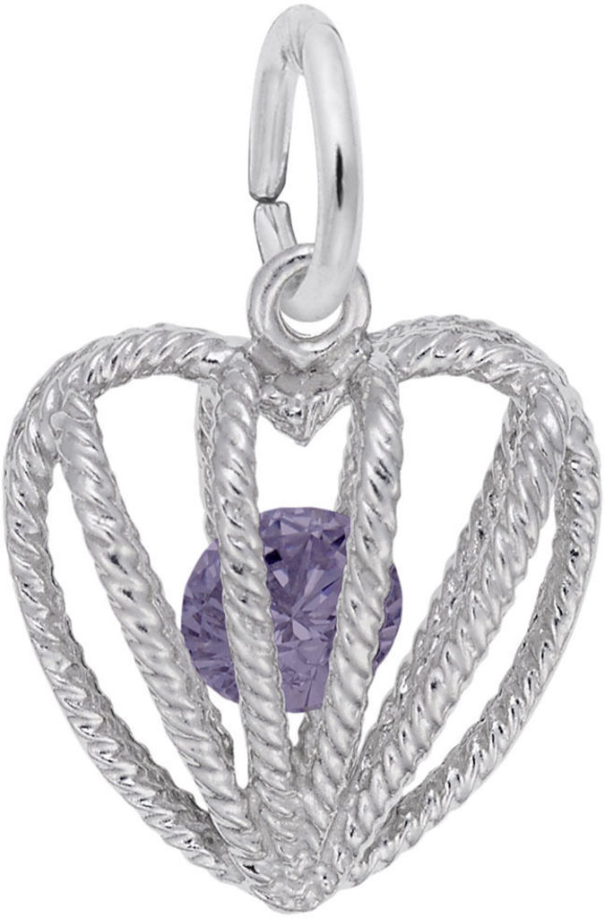 June Heart Cage w/ Synthetic Crystal Charm (Choose Metal) by Rembrandt