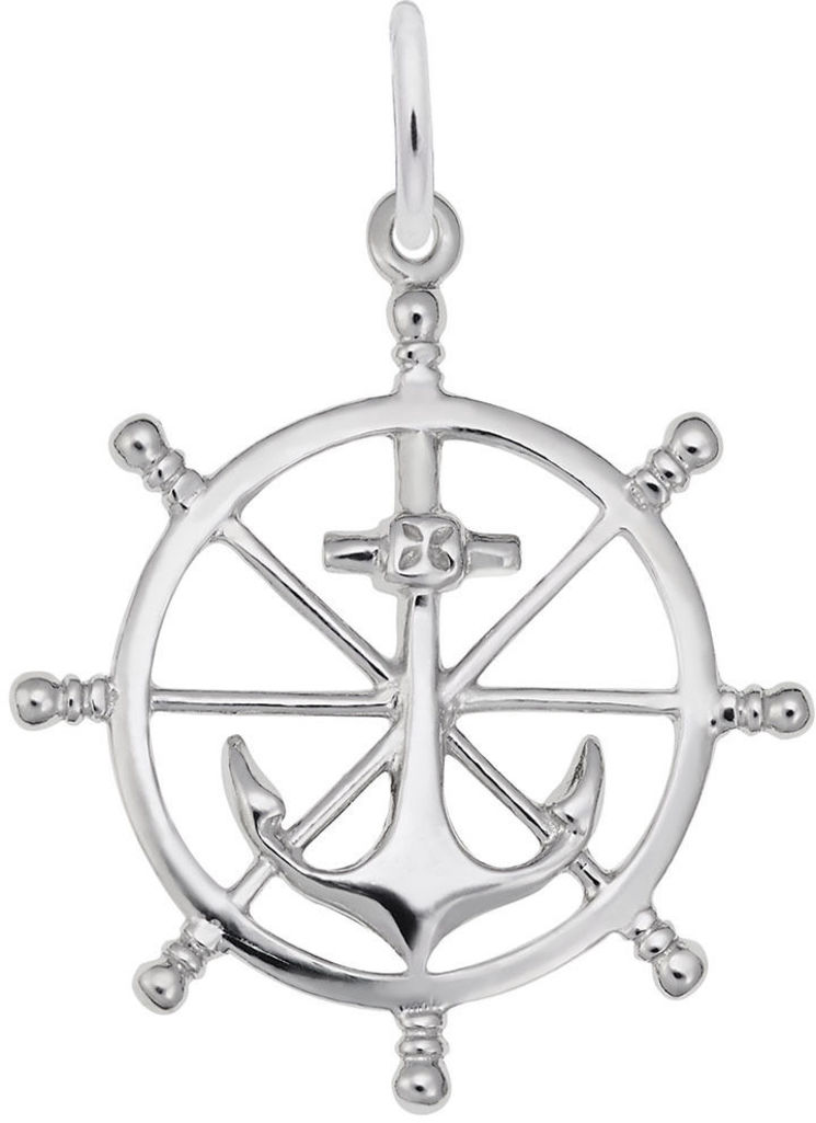 Ship Wheel Charm (Choose Metal) by Rembrandt