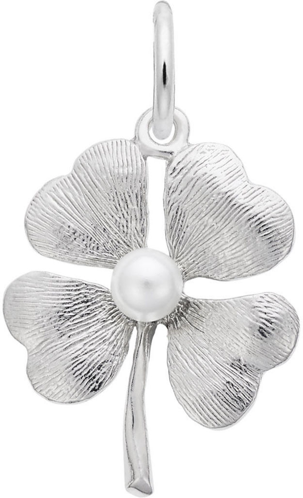 Four Leaf Clover w/ Simulated Pearl Charm (Choose Metal) by Rembrandt