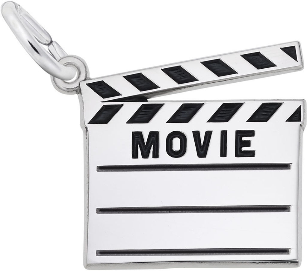 Black Enamel Movie Clap Board Charm (Choose Metal) by Rembrandt
