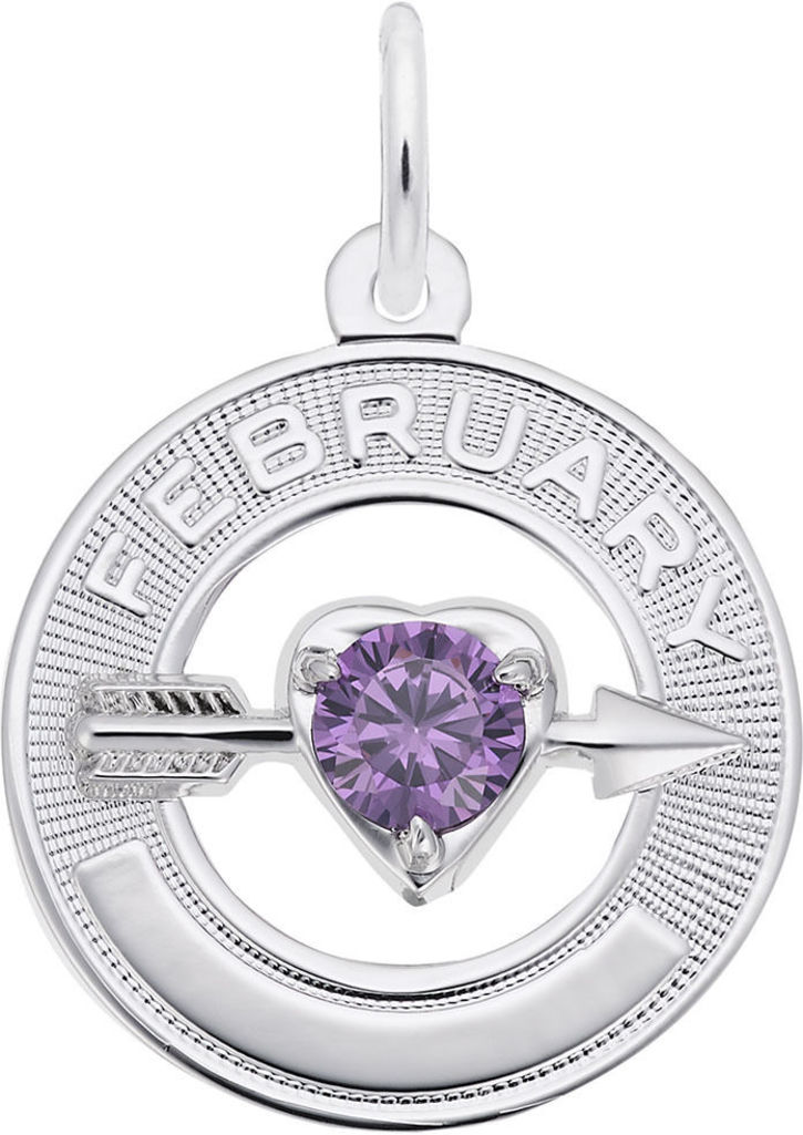 Synthetic Crystal Simulated Birthstone Charms Collection - February (Choose Metal) by Rembrandt