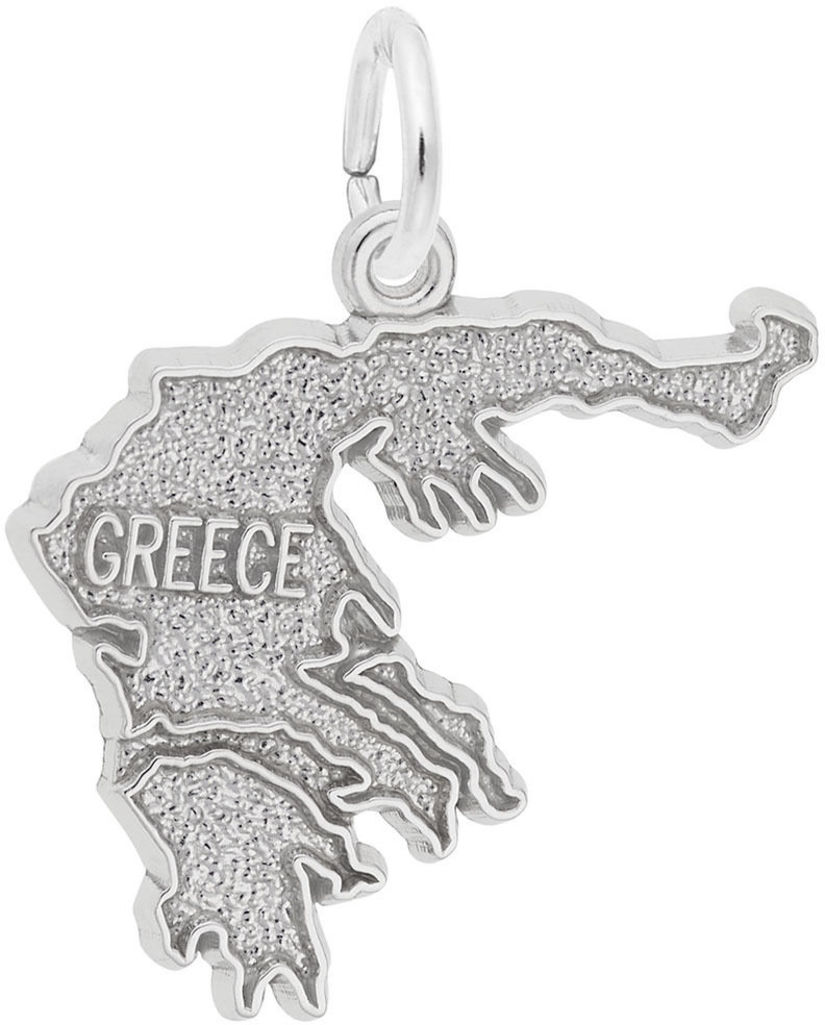 Greece Map Charm (Choose Metal) by Rembrandt