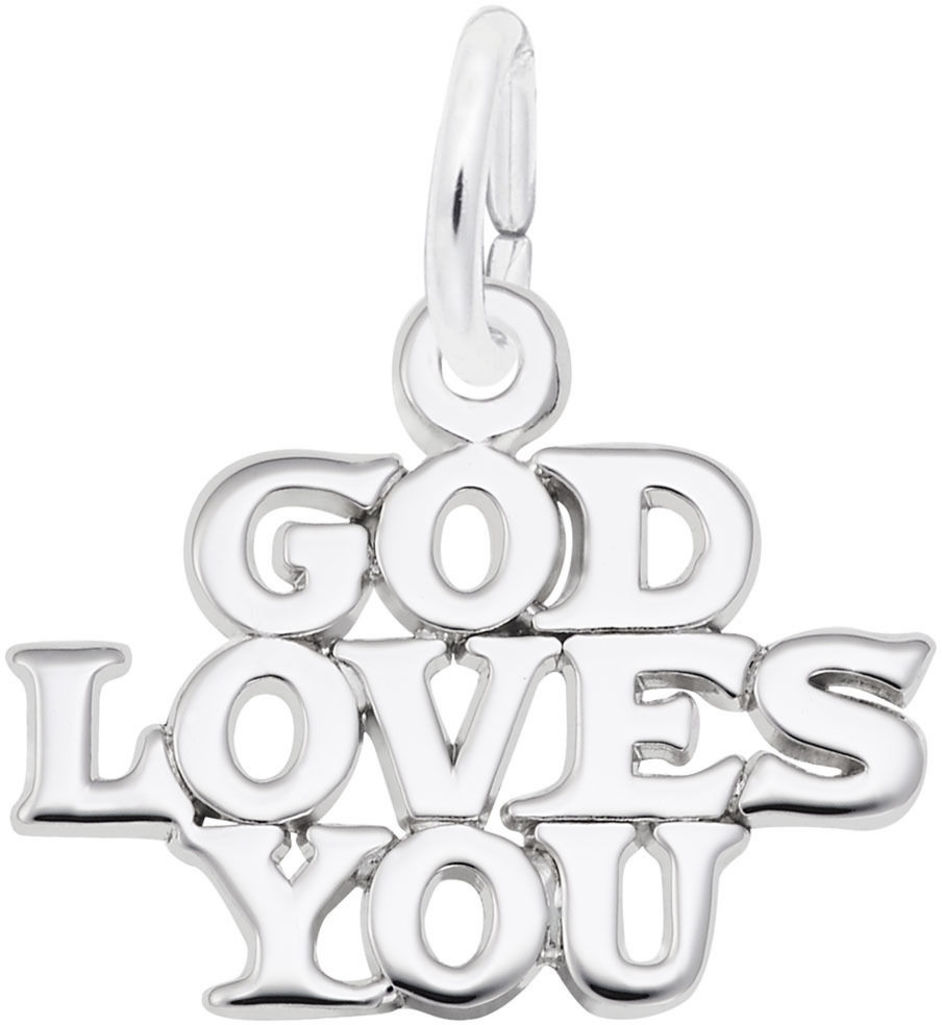 God Loves You Charm (Choose Metal) by Rembrandt