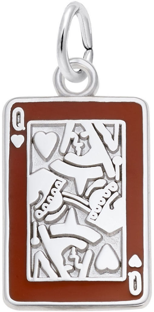 Queen Of Hearts Charm w/ Red Enamel (Choose Metal) by Rembrandt