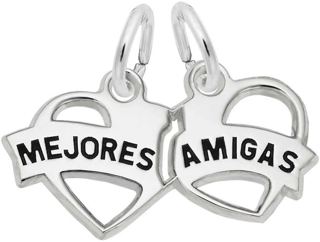 Mejores Amigas Hearts Charm (Choose Metal) by Rembrandt