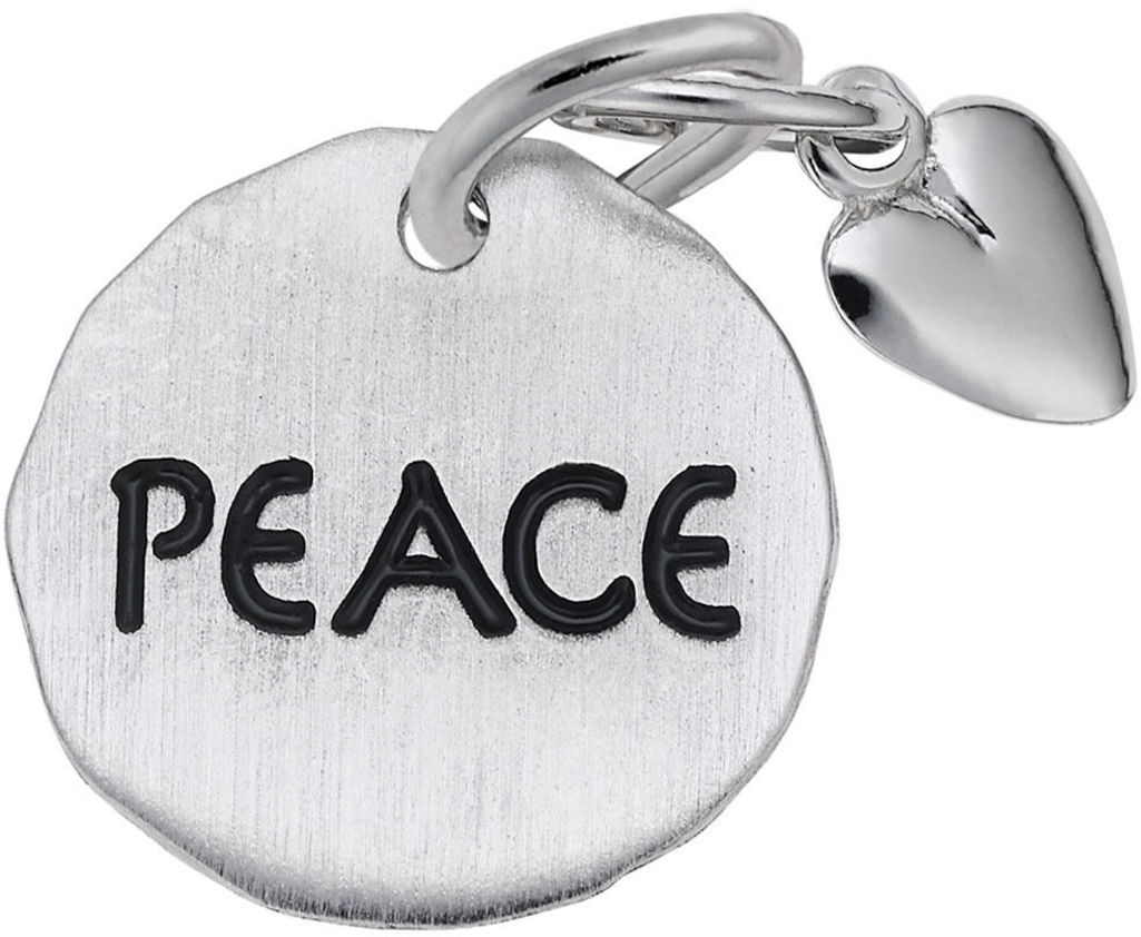 Peace Tag w/ Heart Charm (Choose Metal) by Rembrandt