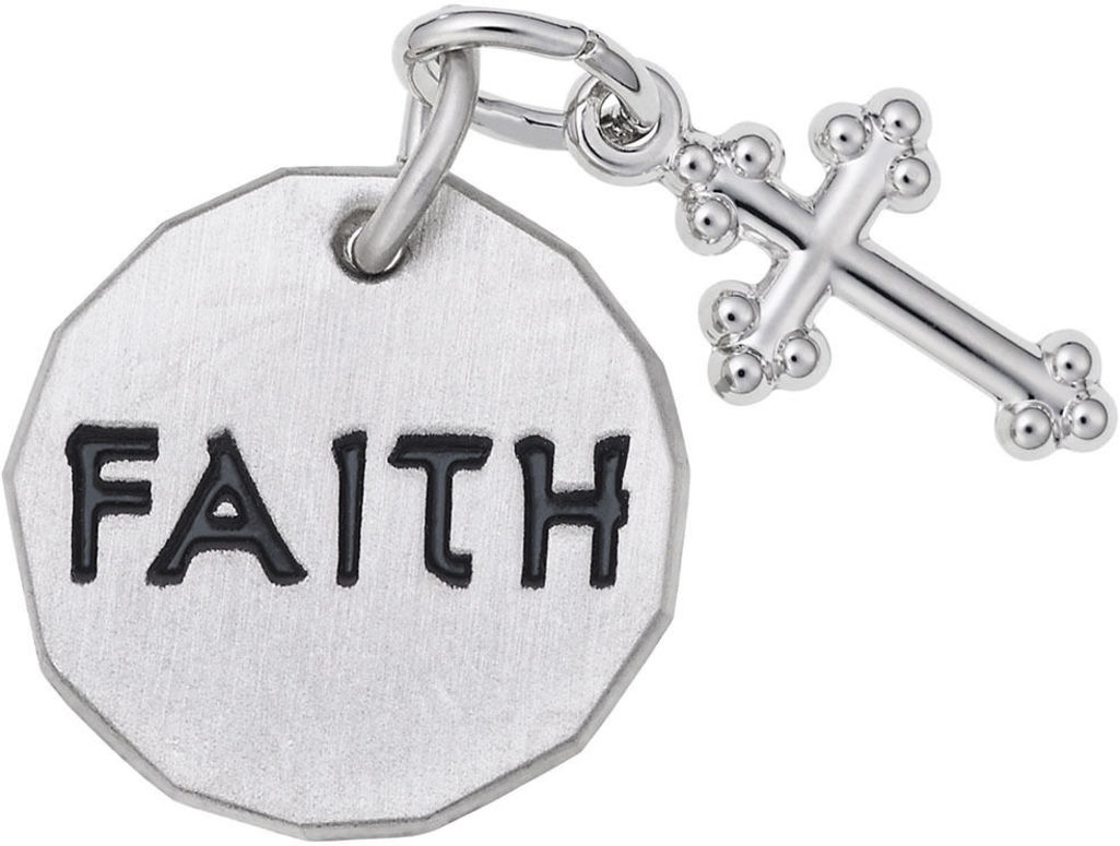Faith Tag w/ Cross Charm (Choose Metal) by Rembrandt