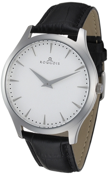 Rougois Gentry Series White Dial Watch with Black Faux Leather Band