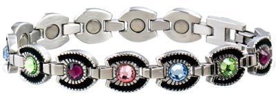 Sabona Ladies Multicolor Gem Horseshoe Magnetic- Ladies Western Bracelet