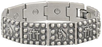Sabona Antique Horsehead Crosses Magnetic Bracelet - Men's Western Bracelet
