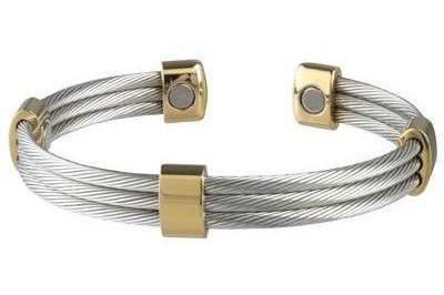 Sabona Trio Cable Stainless-Gold Magnetic - Mens Executive Bracelet