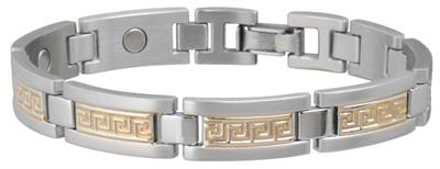 Sabona Greek Key Duet Magnetic - Mens Executive Bracelet - DISCONTINUED