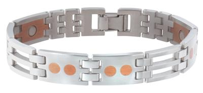 Sabona Stainless-Copper Link Magnetic - Mens Executive Bracelet - DISCONTINUED