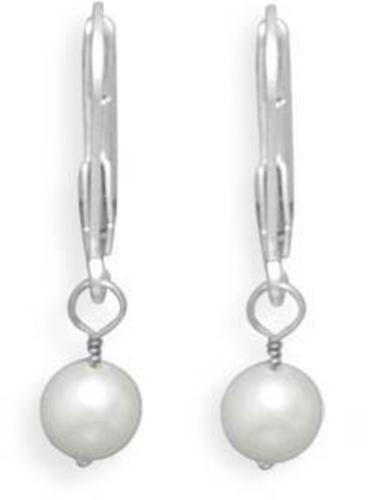"5-5.5mm (0.2""-0.22"") Freshwater Pearl Drop Earrings with Yellow Gold Lever Back"