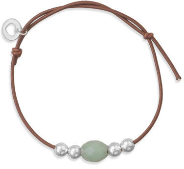 Adjustable Bracelet with Aventurine Bead 925 Sterling Silver