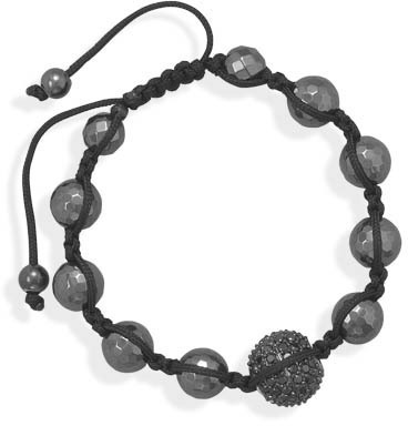 Adjustable Macrame Bracelet with Black CZ and Hematite 925 Sterling Silver