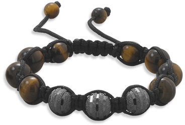 Adjustable Macrame Bracelet CZ and Tiger's Eye Beads 925 Sterling Silver