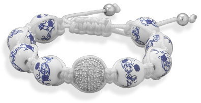 Adjustable Macrame Bracelet with Ceramic and Crystal Beads 925 Sterling Silver