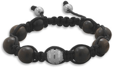 Adjustable Macrame Bracelet with Wood Beads 925 Sterling Silver
