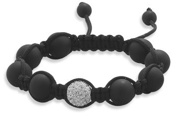 Adjustable Macrame Bracelet with Matte Black Onyx and Crystal Beads 925 Sterling Silver