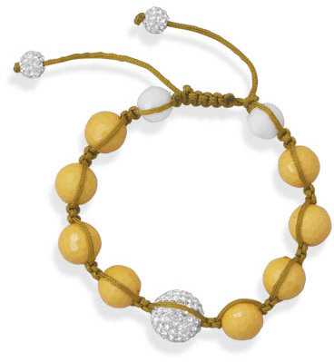 Adjustable Macrame and Yellow Bead Bracelet 925 Sterling Silver
