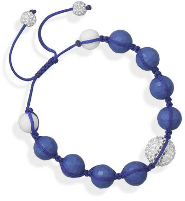 Adjustable Macrame and Blue Bead Bracelet 925 Sterling Silver