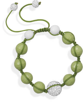 Adjustable Macrame and Green Bead Bracelet 925 Sterling Silver
