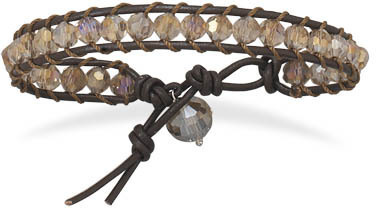 "7""+1"" Leather and AB Crystal Bracelet"
