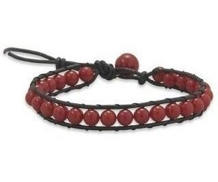 "7""+1"" Leather and Dyed Coral Bracelet"
